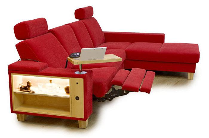 Kotna sedežna garnitura s funkcijo mehanizma relax